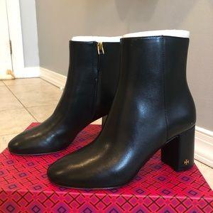 Tory Burch Brooke Black heeled Booties sz 6 NIB